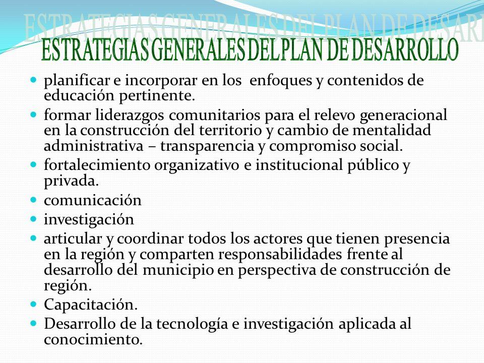 ESTRATEGIAS GENERALES DEL PLAN DE DESARROLLO