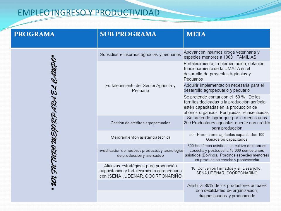 EMPLEO INGRESO Y PRODUCTIVIDAD