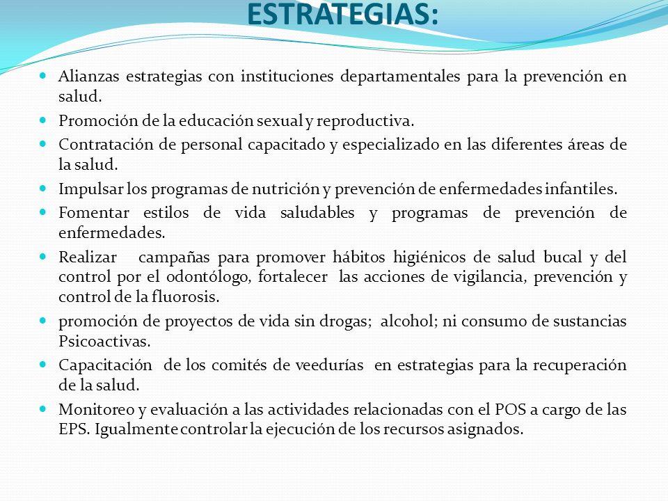 ESTRATEGIAS: Alianzas estrategias con instituciones departamentales para la prevención en salud. Promoción de la educación sexual y reproductiva.
