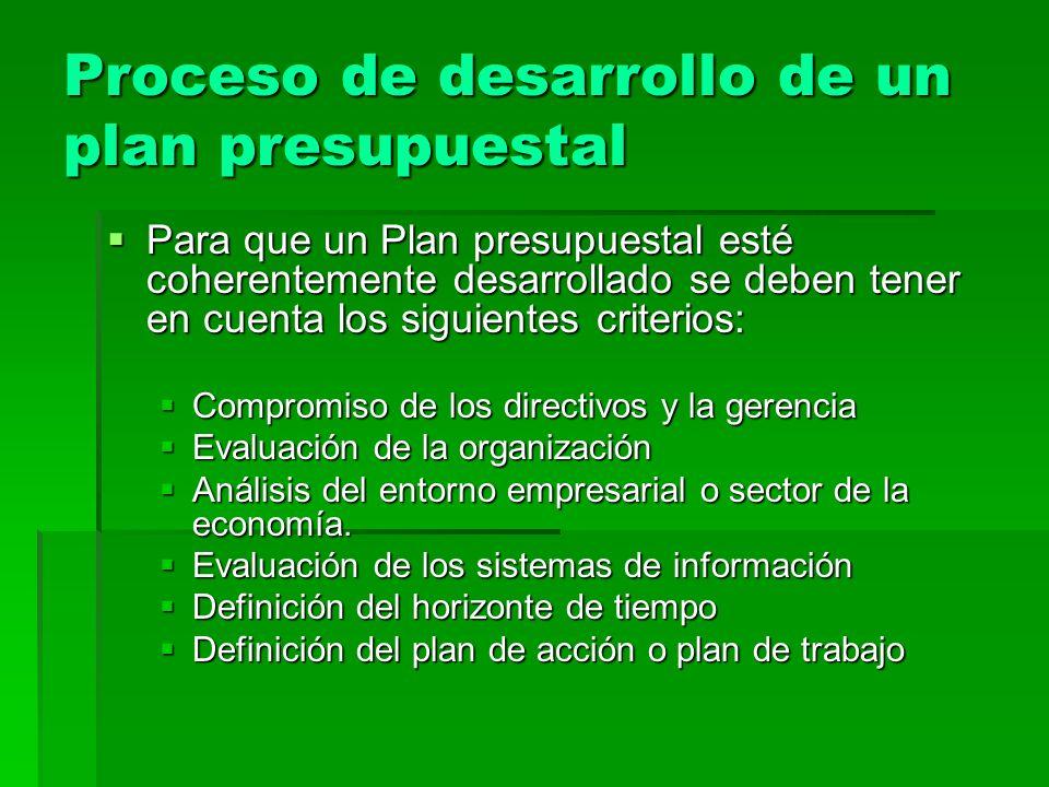 Proceso de desarrollo de un plan presupuestal