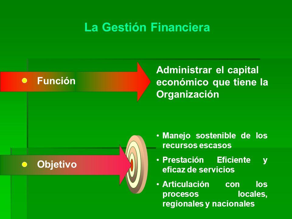 La Gestión Financiera Administrar el capital económico que tiene la Organización. Función. Manejo sostenible de los recursos escasos.