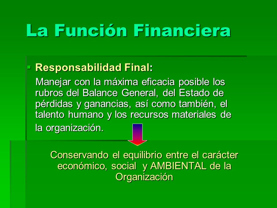 La Función Financiera Responsabilidad Final: