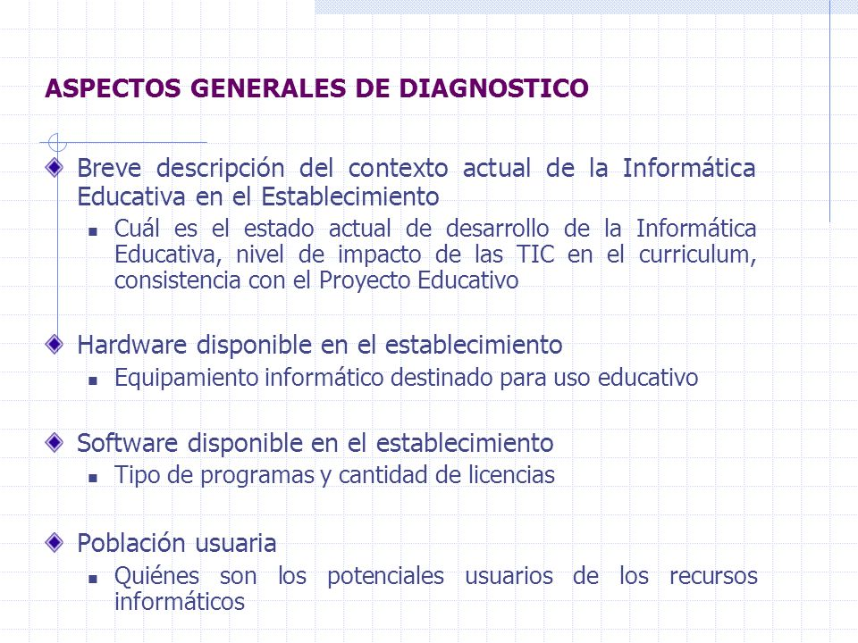 ASPECTOS GENERALES DE DIAGNOSTICO