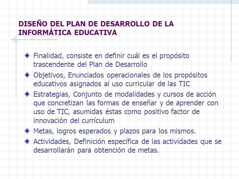 DISEÑO DEL PLAN DE DESARROLLO DE LA INFORMÁTICA EDUCATIVA