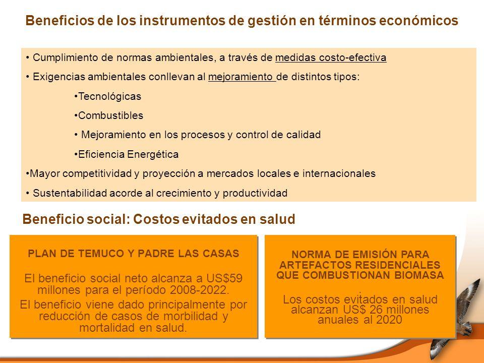 Beneficios de los instrumentos de gestión en términos económicos