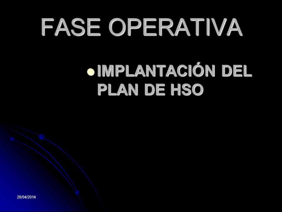 FASE OPERATIVA IMPLANTACIÓN DEL PLAN DE HSO 29/03/2017