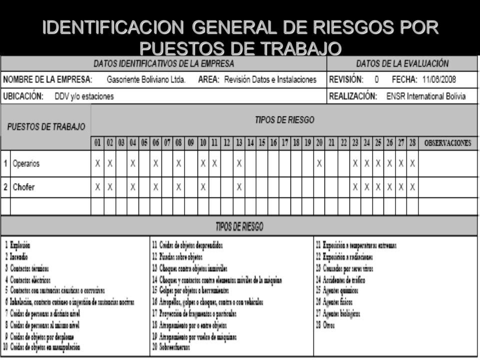IDENTIFICACION GENERAL DE RIESGOS POR PUESTOS DE TRABAJO