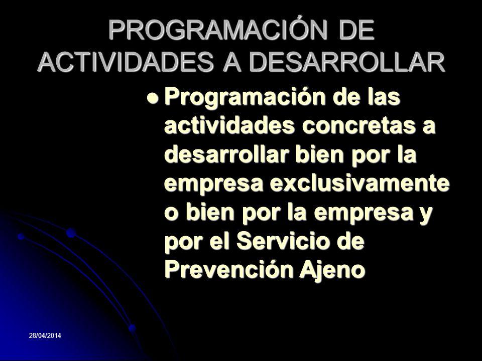 PROGRAMACIÓN DE ACTIVIDADES A DESARROLLAR
