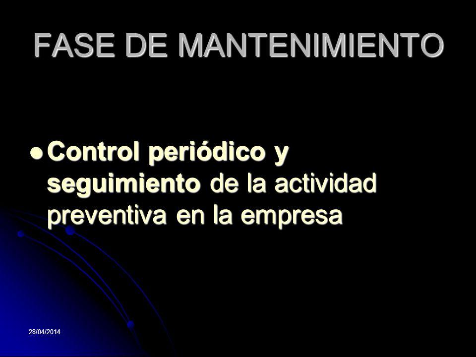 FASE DE MANTENIMIENTO Control periódico y seguimiento de la actividad preventiva en la empresa.