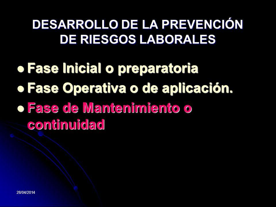 DESARROLLO DE LA PREVENCIÓN DE RIESGOS LABORALES