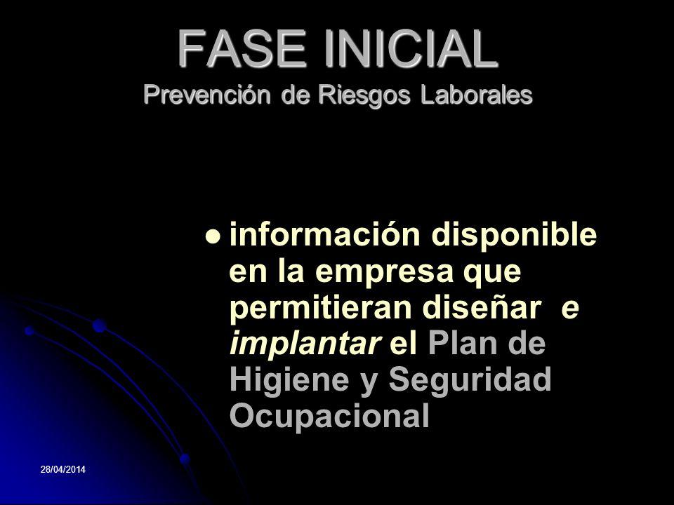 FASE INICIAL Prevención de Riesgos Laborales