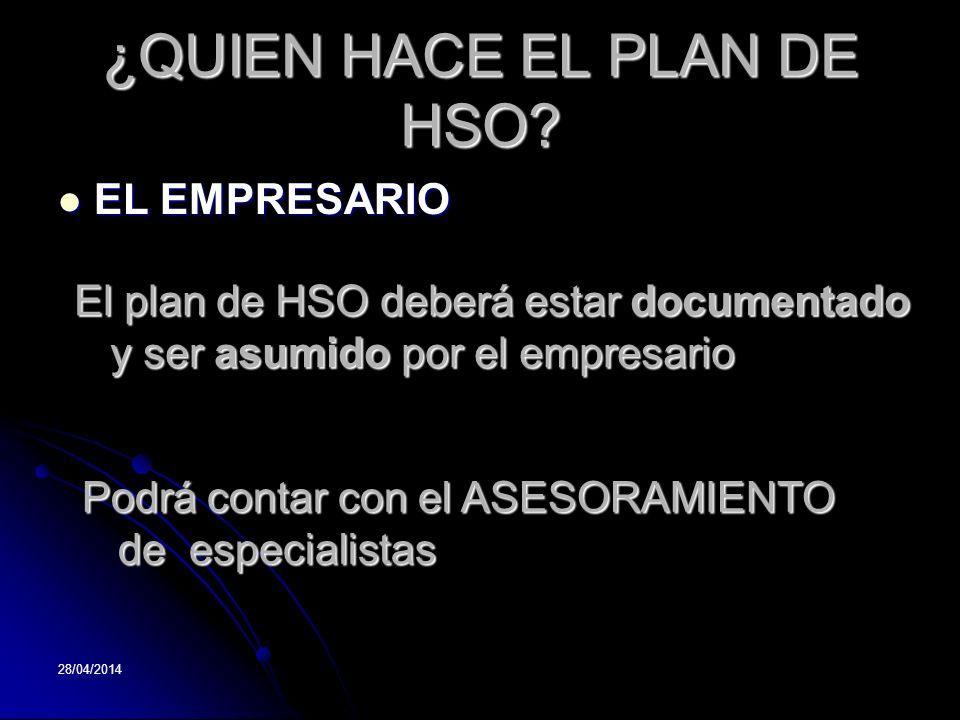 ¿QUIEN HACE EL PLAN DE HSO