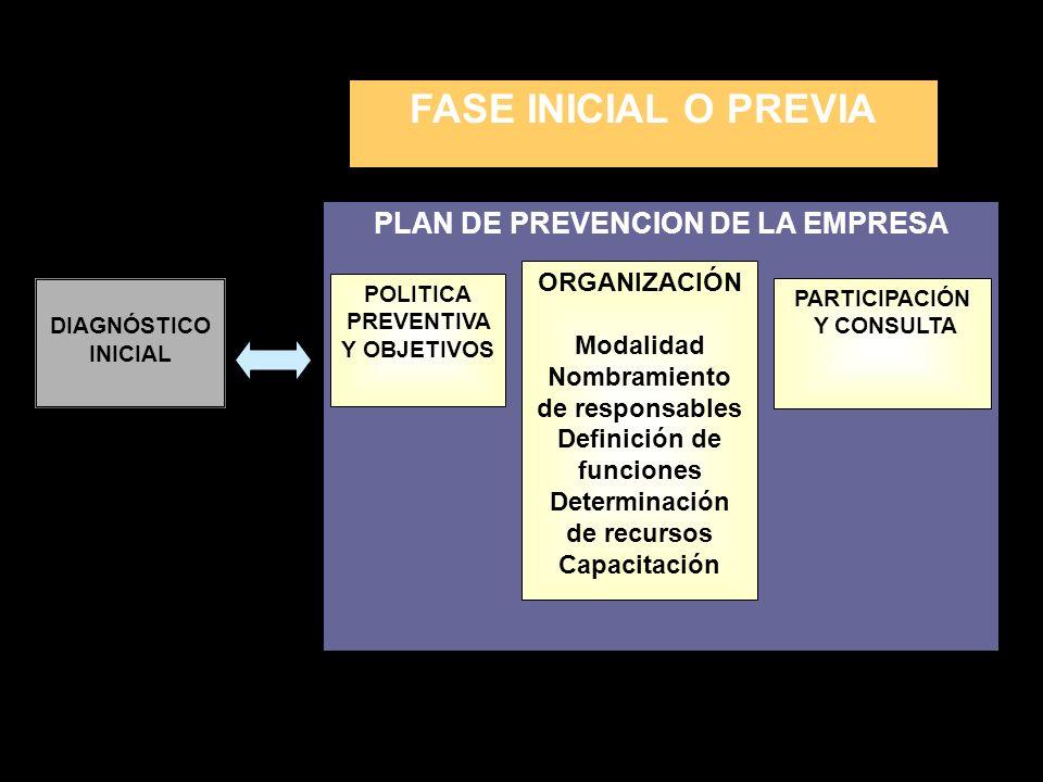FASE INICIAL O PREVIA PLAN DE PREVENCION DE LA EMPRESA ORGANIZACIÓN