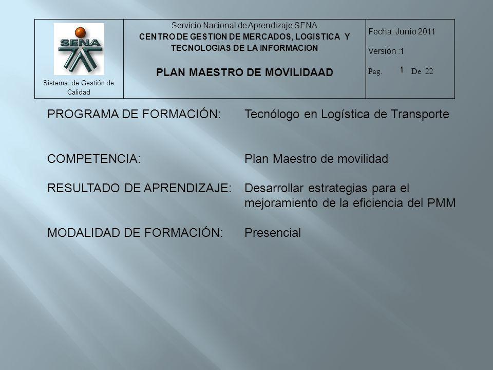 PROGRAMA DE FORMACIÓN: Tecnólogo en Logística de Transporte