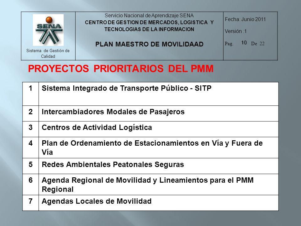 PROYECTOS PRIORITARIOS DEL PMM