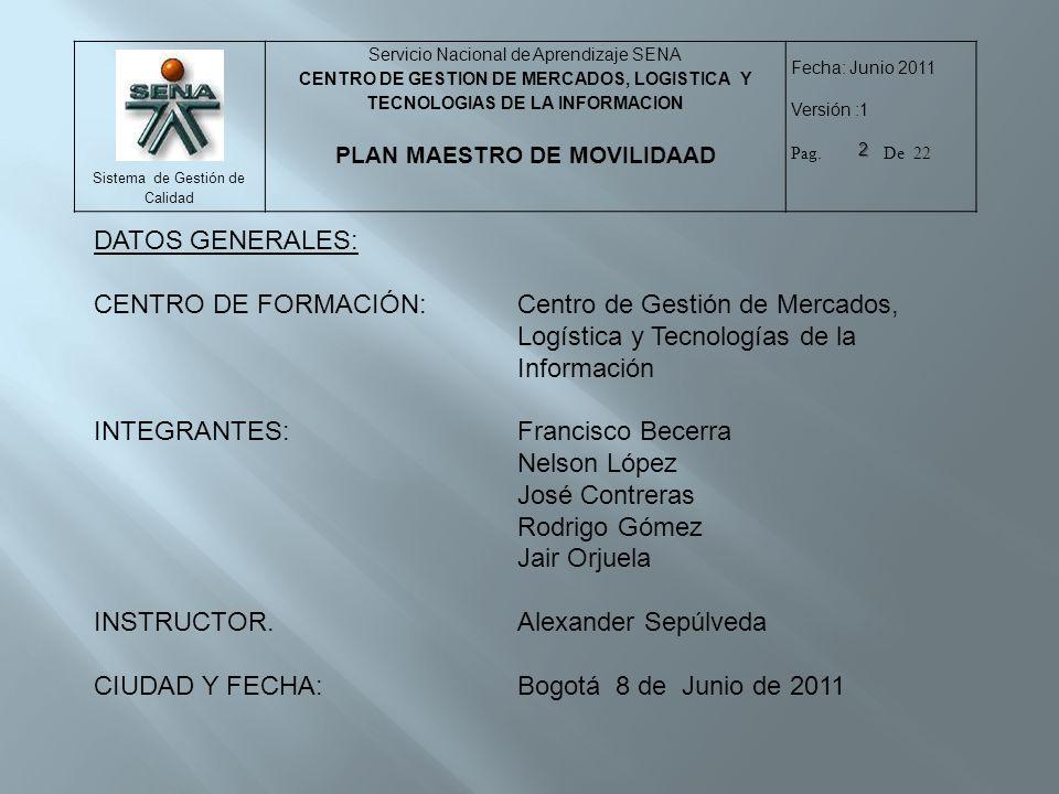 DATOS GENERALES: CENTRO DE FORMACIÓN: Centro de Gestión de Mercados, Logística y Tecnologías de la Información.