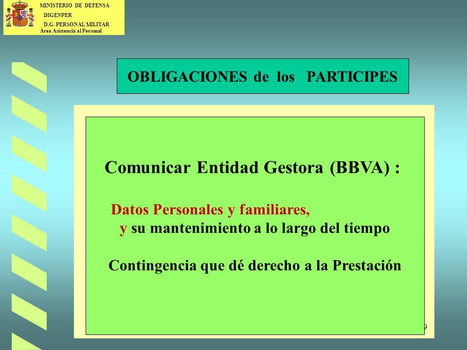 Comunicar Entidad Gestora (BBVA) :