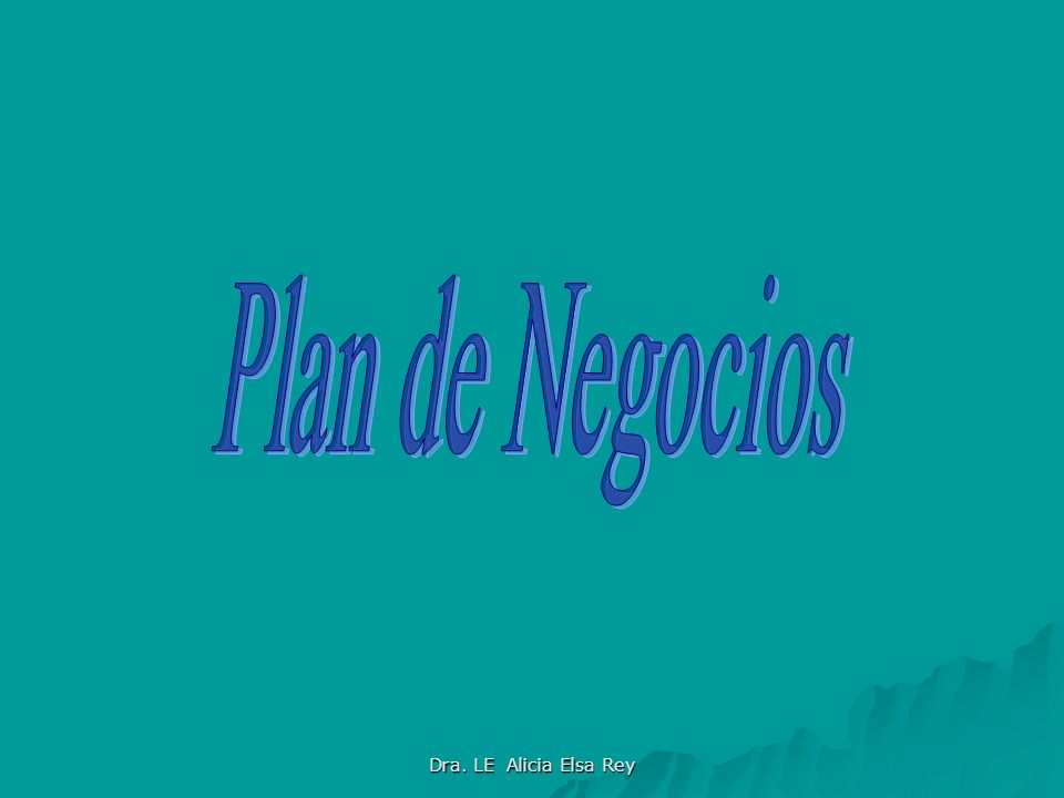 Plan de Negocios Dra. LE Alicia Elsa Rey