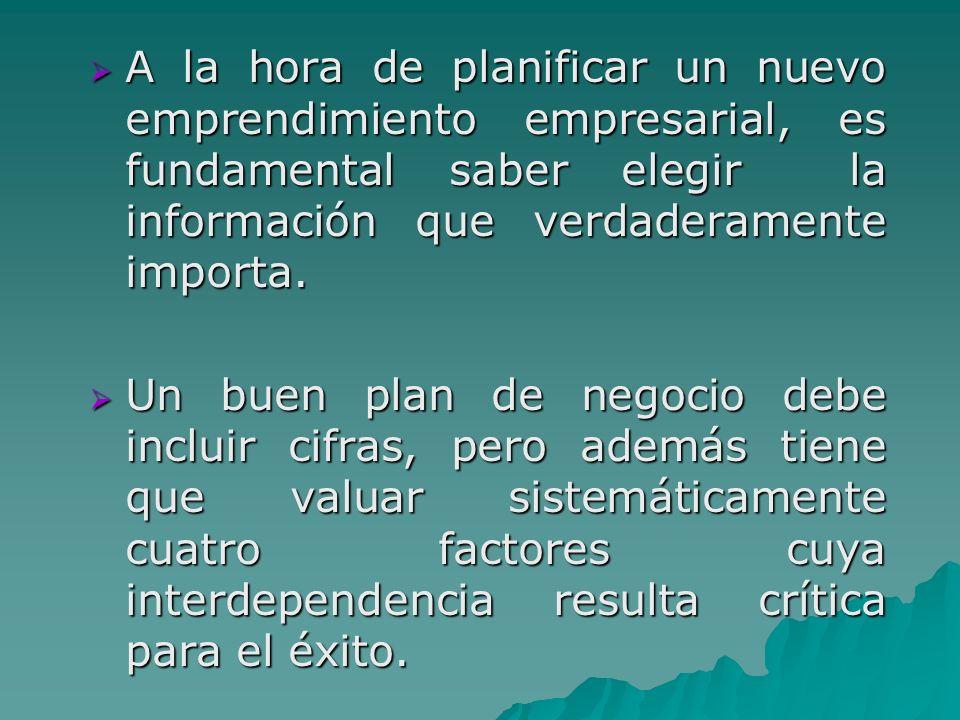 A la hora de planificar un nuevo emprendimiento empresarial, es fundamental saber elegir la información que verdaderamente importa.