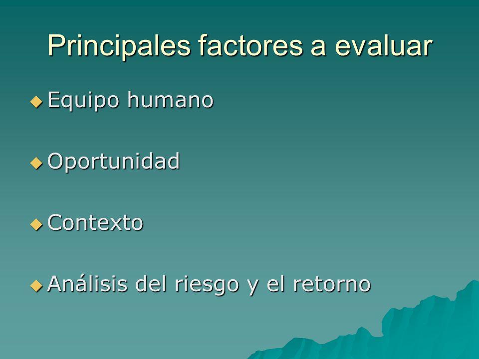 Principales factores a evaluar
