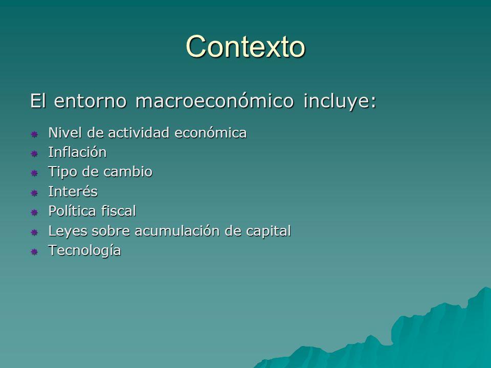 Contexto El entorno macroeconómico incluye: