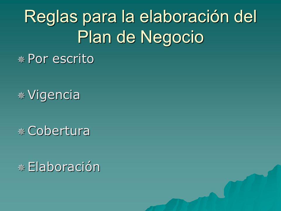 Reglas para la elaboración del Plan de Negocio