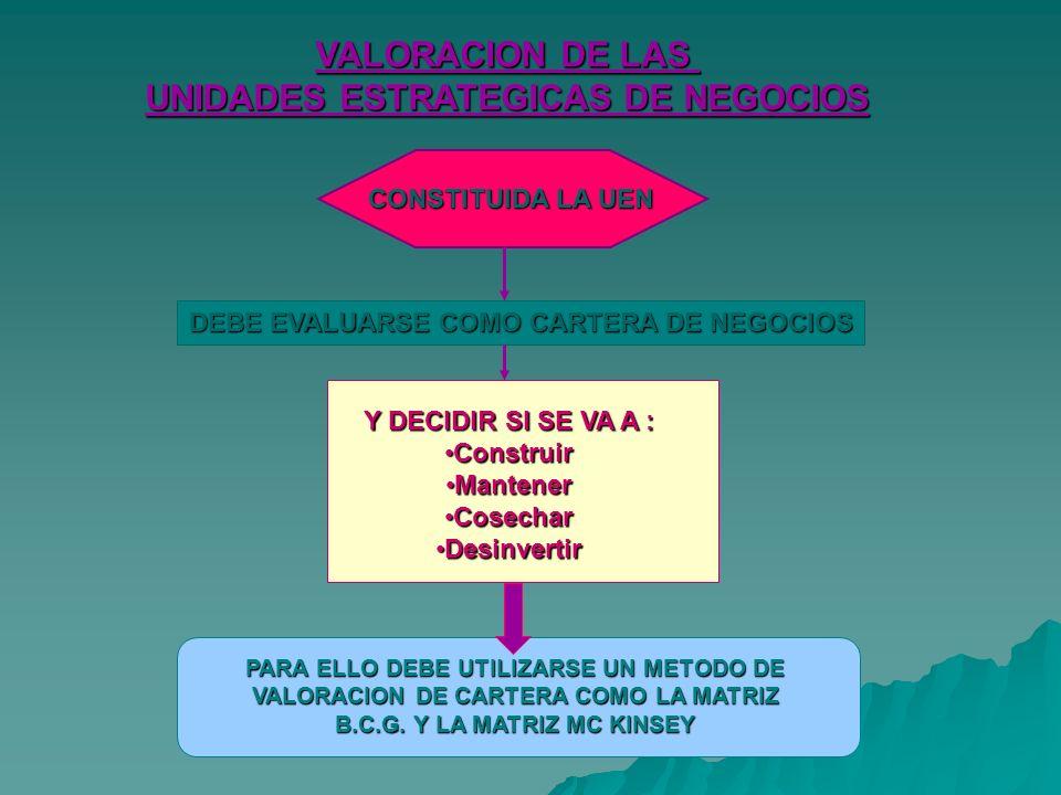 VALORACION DE LAS UNIDADES ESTRATEGICAS DE NEGOCIOS