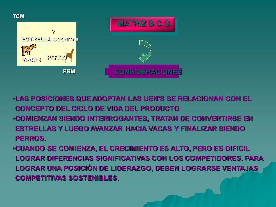 MATRIZ B.C.G. CONSIDERACIONES