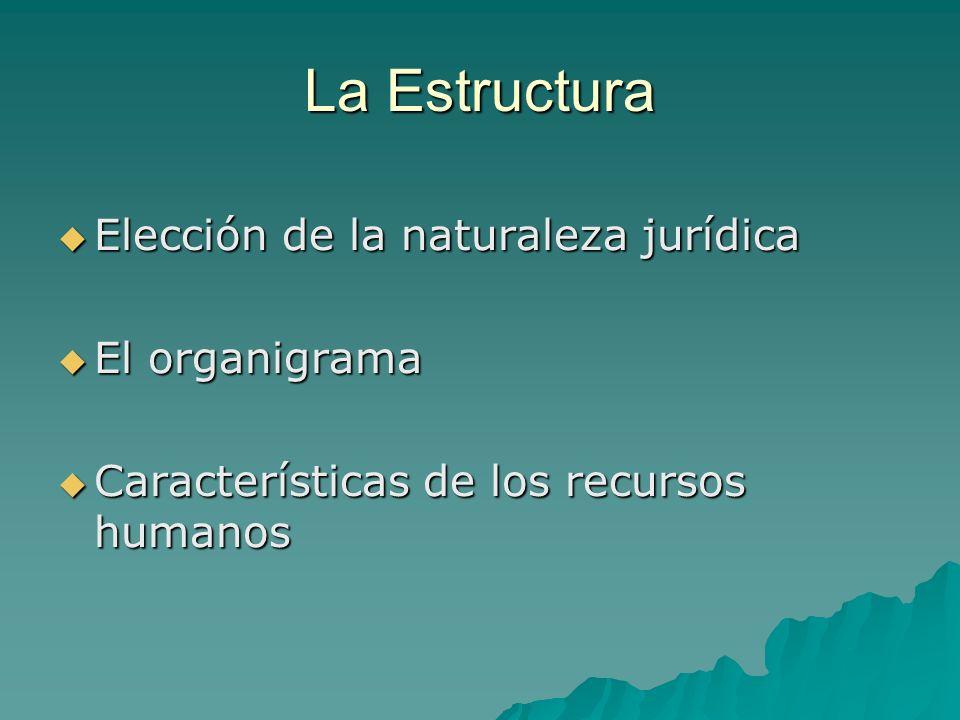 La Estructura Elección de la naturaleza jurídica El organigrama