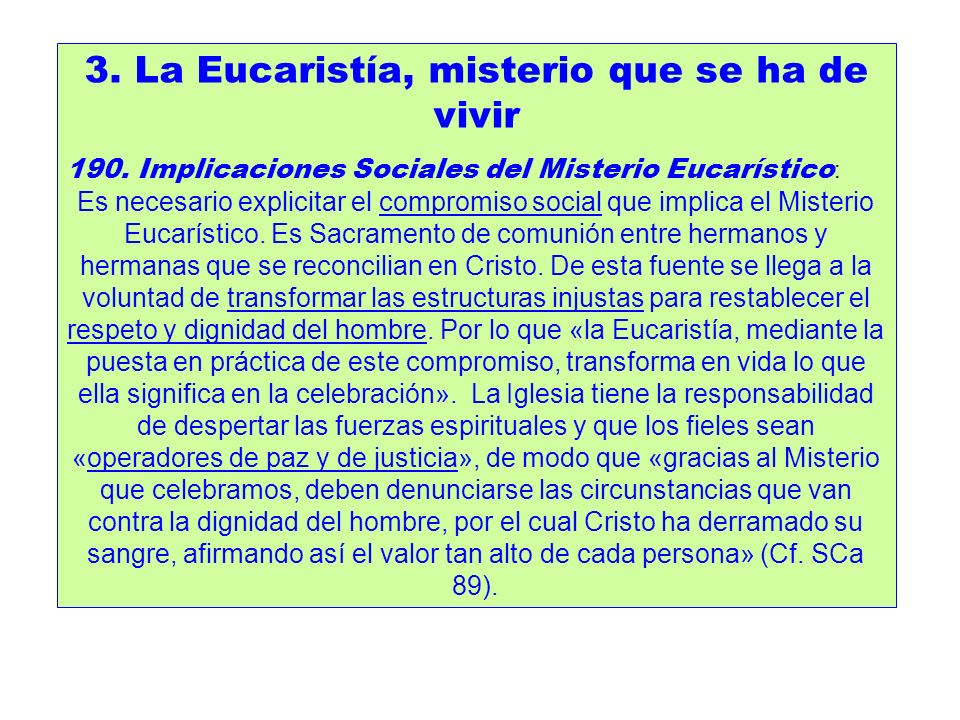 3. La Eucaristía, misterio que se ha de vivir