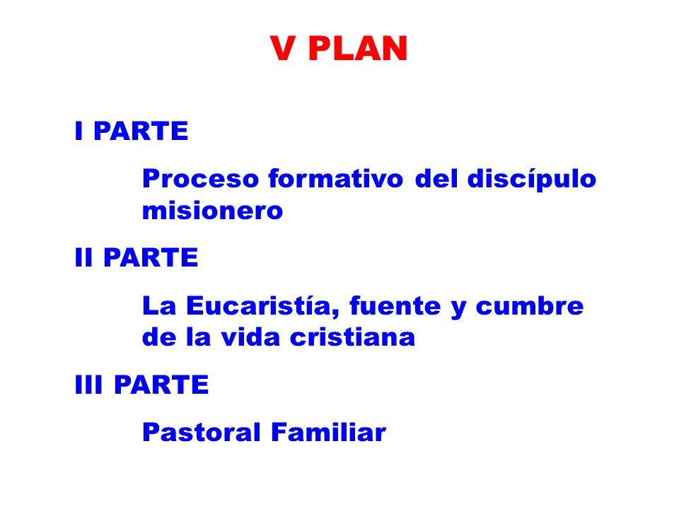 V PLAN I PARTE Proceso formativo del discípulo misionero II PARTE