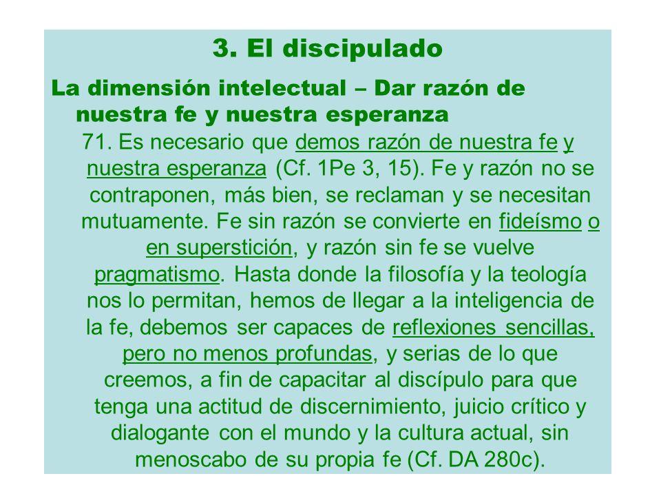3. El discipulado La dimensión intelectual – Dar razón de nuestra fe y nuestra esperanza.