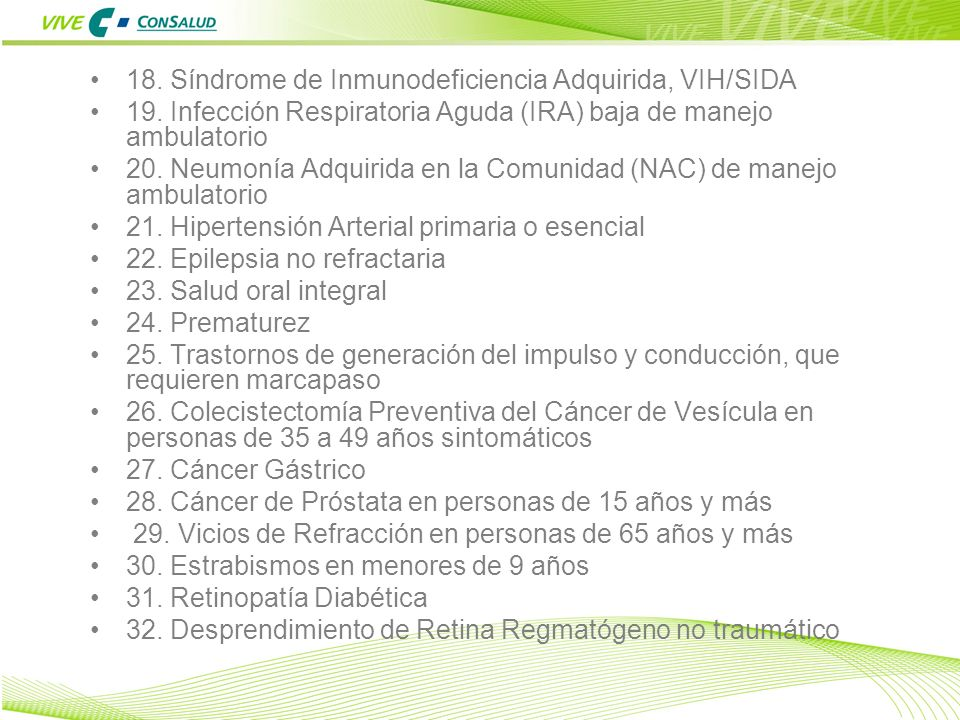 18. Síndrome de Inmunodeficiencia Adquirida, VIH/SIDA