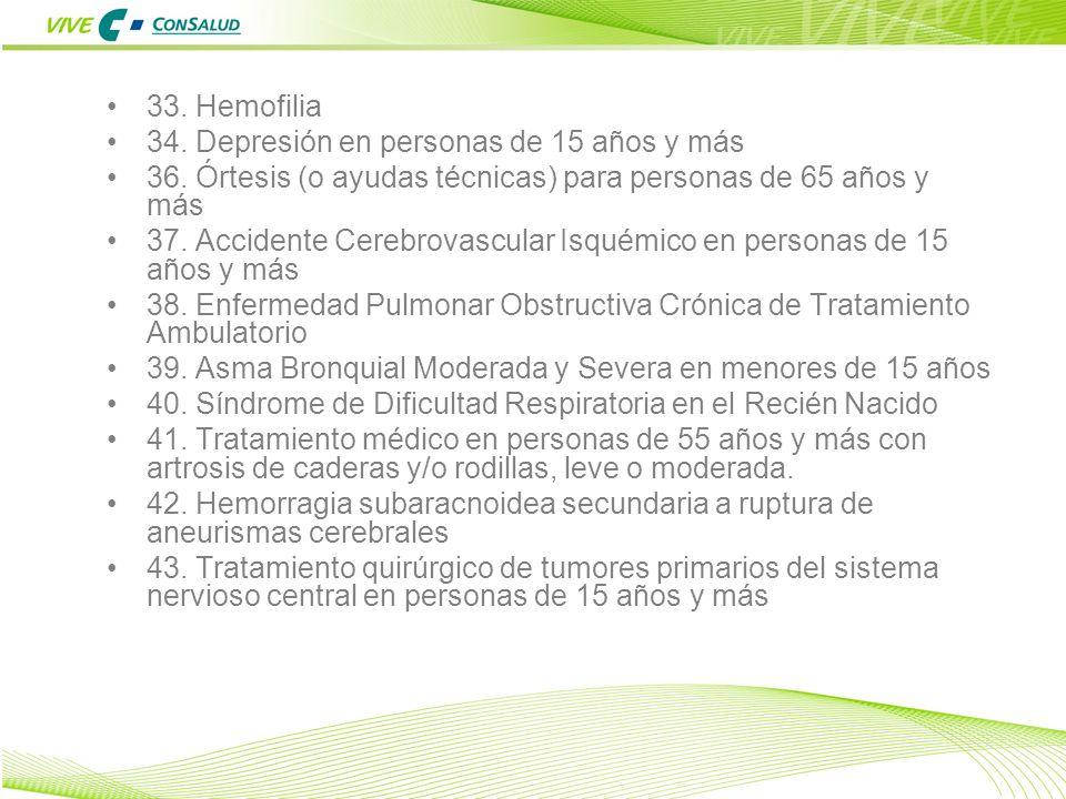 33. Hemofilia 34. Depresión en personas de 15 años y más. 36. Órtesis (o ayudas técnicas) para personas de 65 años y más.