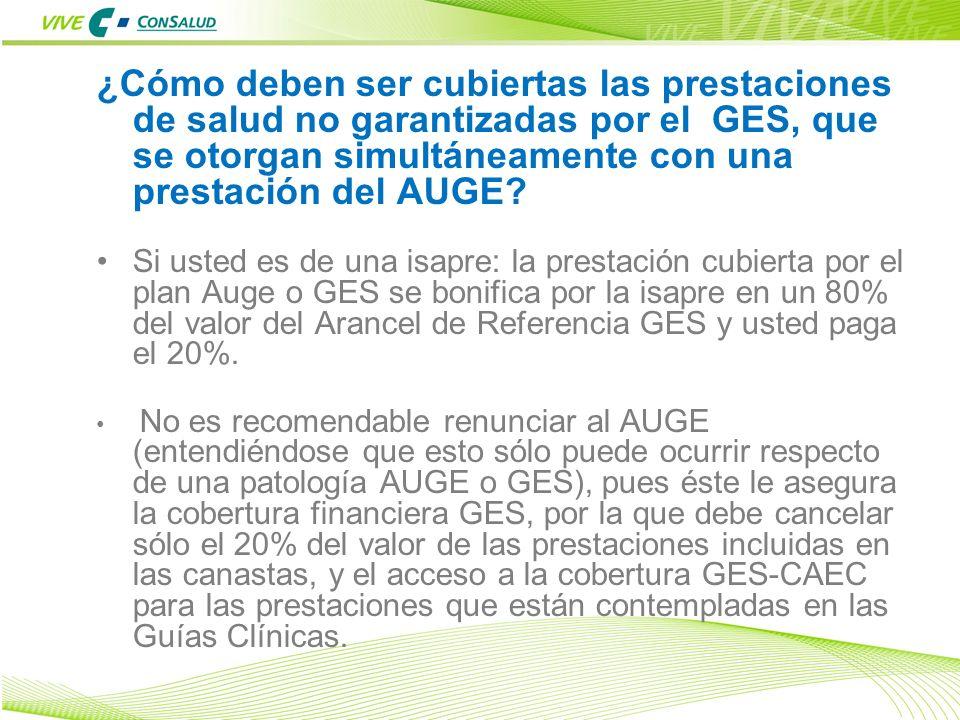¿Cómo deben ser cubiertas las prestaciones de salud no garantizadas por el GES, que se otorgan simultáneamente con una prestación del AUGE