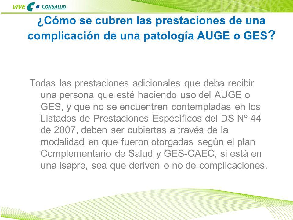 ¿Cómo se cubren las prestaciones de una complicación de una patología AUGE o GES