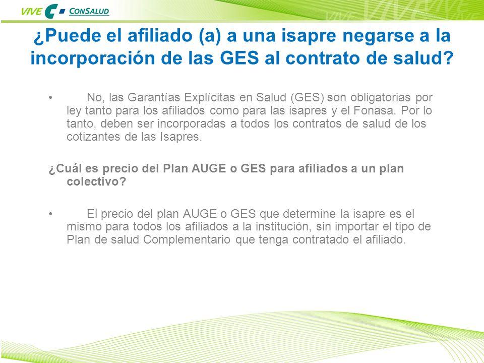 ¿Puede el afiliado (a) a una isapre negarse a la incorporación de las GES al contrato de salud