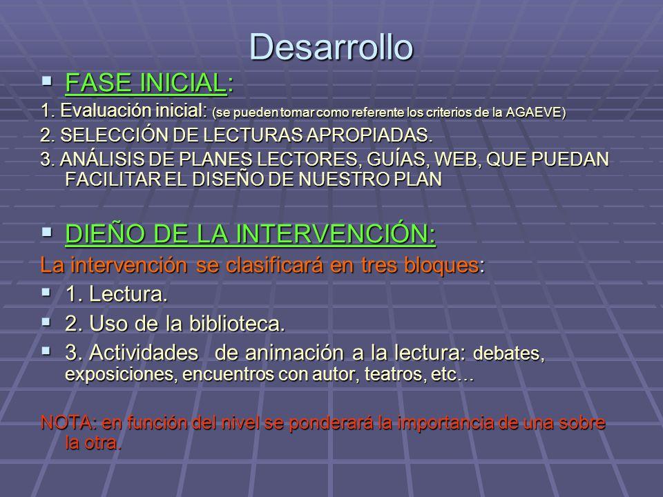 Desarrollo FASE INICIAL: DIEÑO DE LA INTERVENCIÓN: