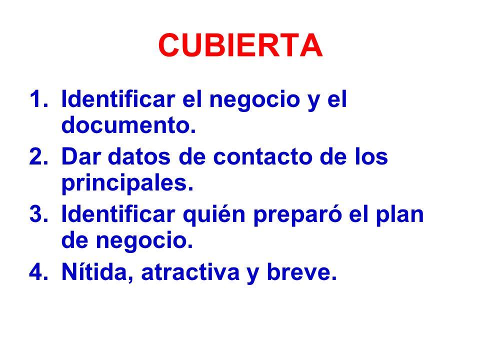 CUBIERTA Identificar el negocio y el documento.