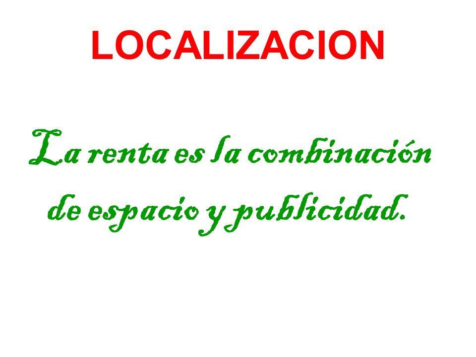 La renta es la combinación de espacio y publicidad.