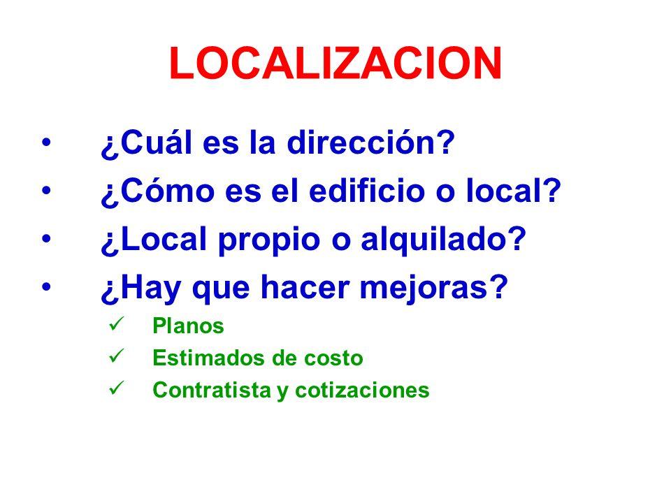 LOCALIZACION ¿Cuál es la dirección ¿Cómo es el edificio o local