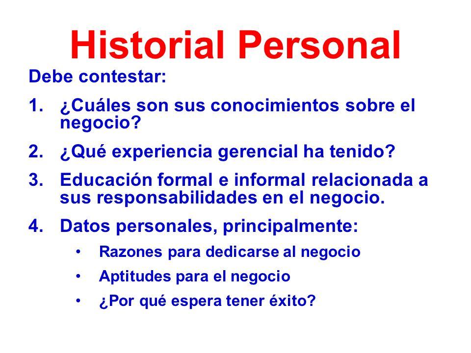 Historial Personal Debe contestar: