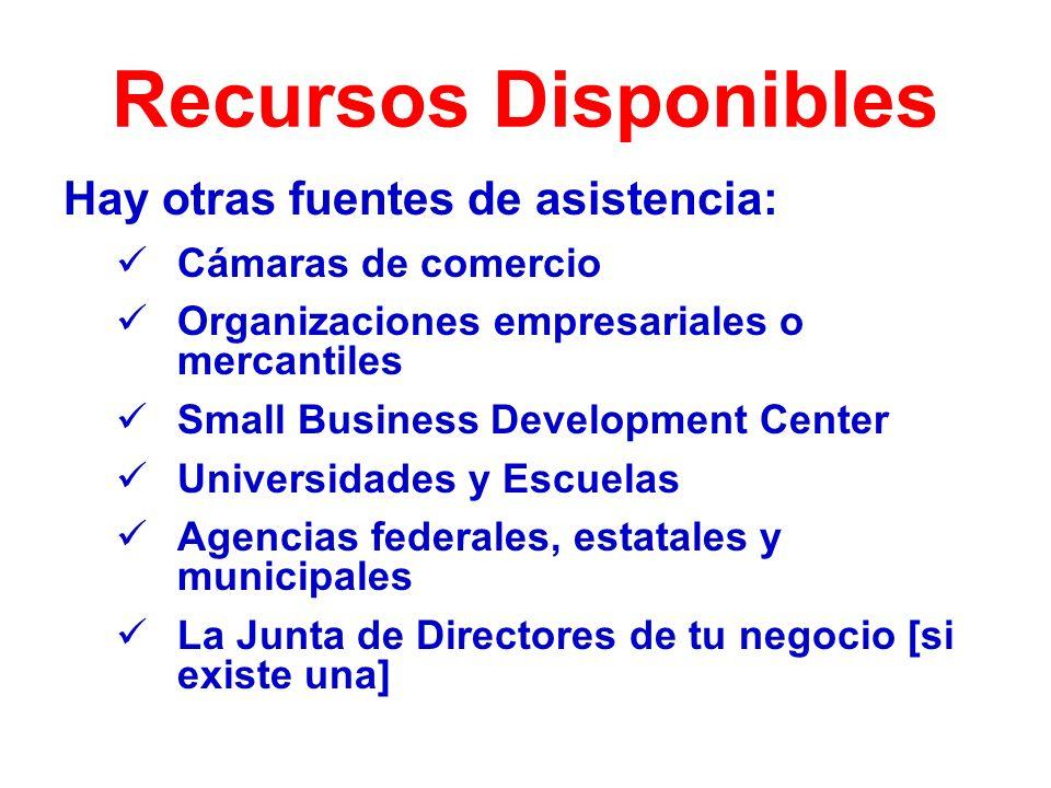 Recursos Disponibles Hay otras fuentes de asistencia: