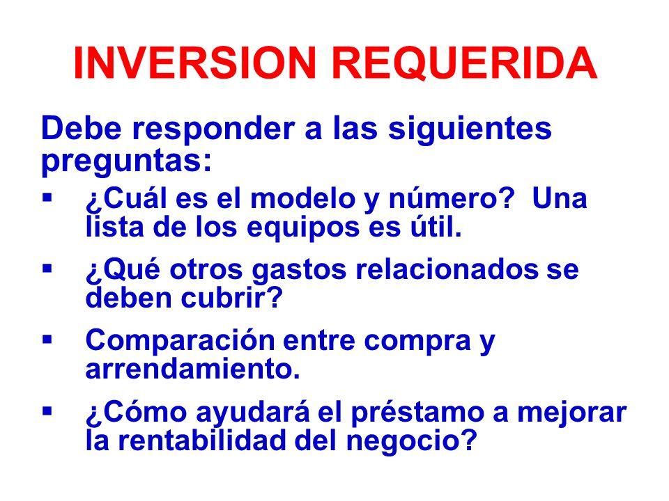 INVERSION REQUERIDA Debe responder a las siguientes preguntas:
