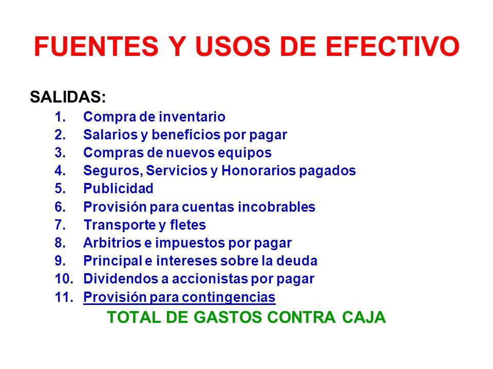 FUENTES Y USOS DE EFECTIVO