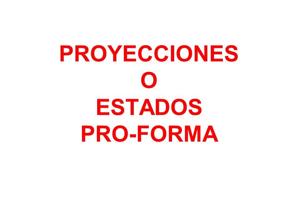 PROYECCIONES O ESTADOS PRO-FORMA