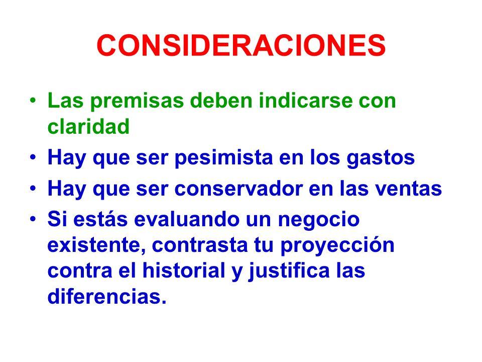 CONSIDERACIONES Las premisas deben indicarse con claridad