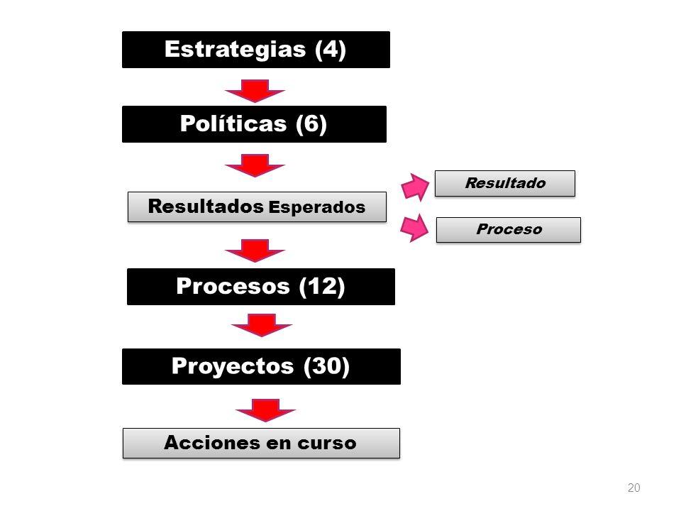 Estrategias (4) Políticas (6) Procesos (12) Proyectos (30)