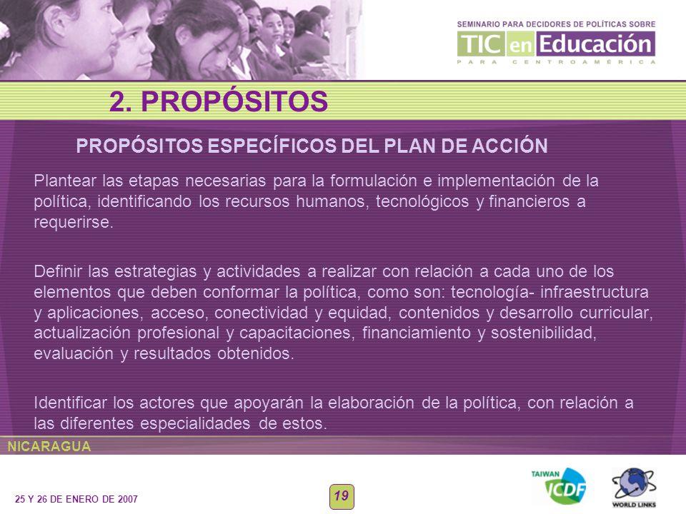 2. PROPÓSITOS PROPÓSITOS ESPECÍFICOS DEL PLAN DE ACCIÓN