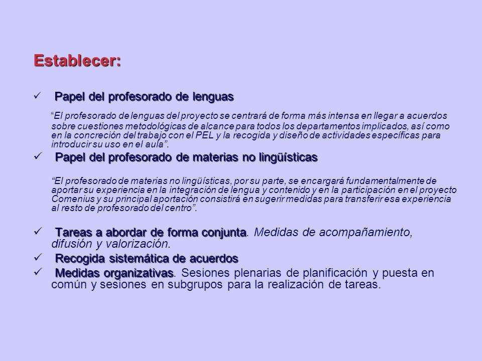 Establecer: Papel del profesorado de lenguas.